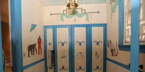 Wall, Interior design, Fixture, Door, Paint, Home door, Handle, Door handle, Visual arts, Household hardware,