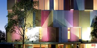 Property, Facade, Colorfulness, Commercial building, Real estate, Purple, Magenta, Violet, Lavender, Door,
