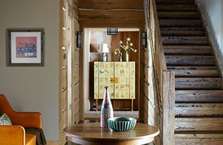 Wood, Room, Interior design, Hardwood, Property, Furniture, Wood stain, Wall, Stairs, Table,