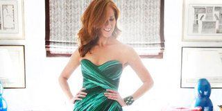 Blue, Room, Hairstyle, Green, Shoulder, Dress, Photograph, Strapless dress, Interior design, Formal wear,