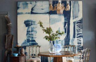 Blue, Interior design, Room, Photograph, Table, Furniture, Wall, Interior design, Glass, Majorelle blue,