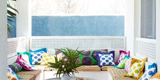Blue, Room, Interior design, Property, Textile, Furniture, Home, Table, Wall, Turquoise,