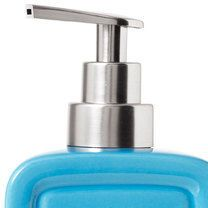 blue soap dispenser