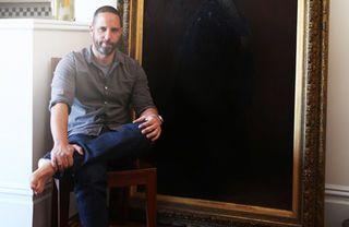 Photograph, Sitting, Comfort, Denim, Knee, Facial hair, Hardwood, Picture frame, Lap, Beard,