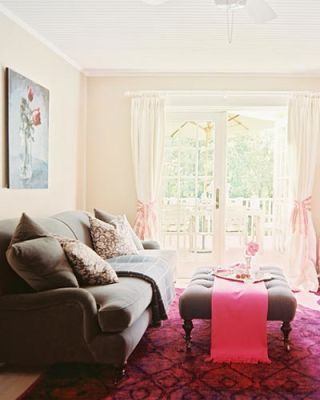 Room, Interior design, Floor, Textile, Home, Ceiling, Interior design, Flooring, Furniture, Pink,