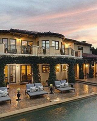 Property, Real estate, Home, Residential area, House, Roof, Outdoor furniture, Couch, Evening, Dusk,