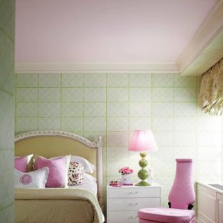 green and pink bedroom