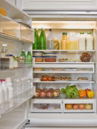 Bottle, Liquid, Major appliance, Food, Shelving, Whole food, Freezer, Refrigerator, Produce, Natural foods,