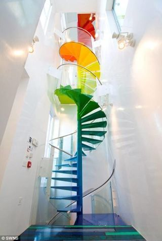 Interior design, Aqua, Stairs, Paint, Modern art, Art paint,