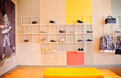 Room, Shelving, Shelf, Interior design, Wall, Floor, Flooring, Collection, Clothes hanger, Interior design,