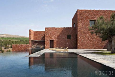 Property, Real estate, Landscape, Brick, Land lot, House, Swimming pool, Residential area, Villa, Reflection,