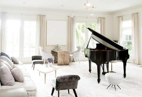 Interior design, Room, Musical instrument, Furniture, Floor, Musical instrument accessory, Ceiling, Couch, Interior design, Living room,