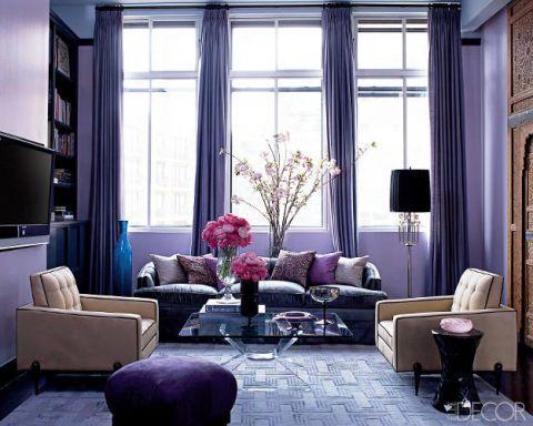 Room, Interior design, Living room, Furniture, Purple, Wall, Couch, Home, Interior design, Floor,
