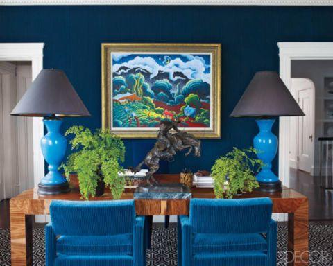 Blue, Room, Interior design, Lamp, Furniture, Wall, Table, Interior design, Lampshade, Majorelle blue,