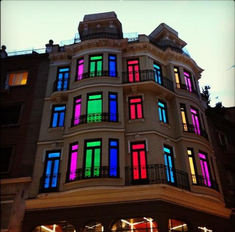 Facade, Colorfulness, Building, Landmark, Magenta, Purple, Fixture, Violet, Apartment, Commercial building,