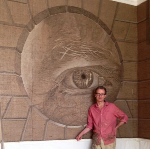 Human, Eye, Forehead, Wall, Organ, Temple, Beige, Visual arts, Brick, Portrait,