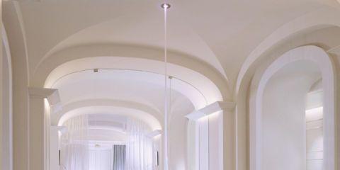 Interior design, Architecture, Ceiling, Light fixture, Interior design, Floor, Hall, Ceiling fixture, Molding, Marble,
