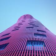 Blue, Daytime, Tower block, Architecture, Colorfulness, Property, Facade, Purple, Urban area, Metropolitan area,