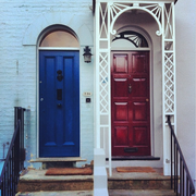 Wood, Blue, Architecture, Stairs, Door, Home door, Line, Wall, House, Fixture,