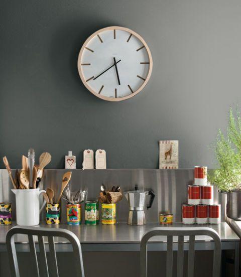 Wall clock, Interior design, Clock, Home accessories, Grey, Bottle, Quartz clock, Glass bottle, Shelving, Still life photography,