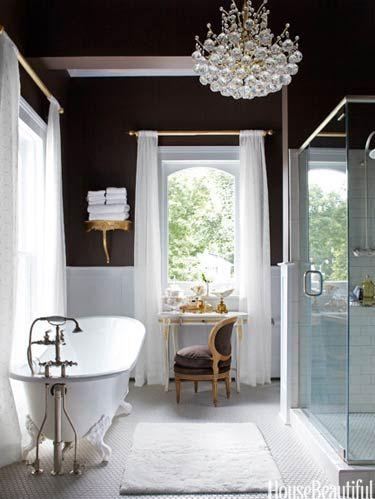 Room, Interior design, Plumbing fixture, Floor, Architecture, Property, Bathroom sink, Flooring, White, Chandelier,
