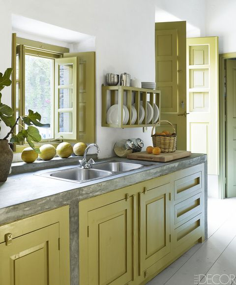 Countertop, Cabinetry, Furniture, Room, Kitchen, Yellow, Property, Interior design, Drawer, Cupboard,