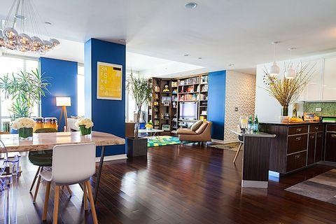 Lighting, Room, Interior design, Floor, Wood, Flooring, Furniture, Table, Ceiling, Couch,