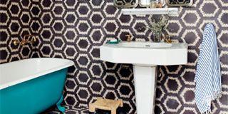 Blue, Product, Plumbing fixture, Property, Wall, Floor, Purple, Bathroom sink, Flooring, Ceramic,
