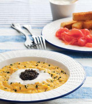Ultimate Scrambled Eggs with Crème Fraîche and Caviar Recipe