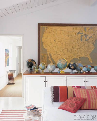 Decorating With Maps - Inexpensive Map Wall Art