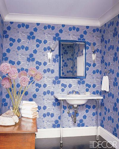 Finnish wallpaper from the 1950s adorns the walls of the powder room in a  Manhattan apartment decorated by Katie Ridder  Hanging above a simple yet  stylish. 15 Bathroom Wallpaper Ideas   Wall Coverings for Bathrooms   Elle