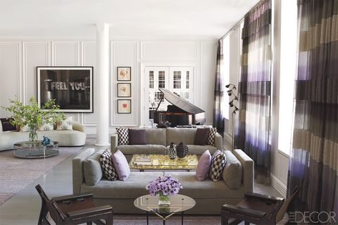 Living room, Room, Interior design, Furniture, Property, Coffee table, Building, Purple, House, Table,