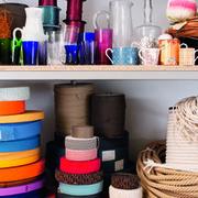 Blue, Textile, Orange, Shelving, Azure, Magenta, Stuffed toy, Shelf, Plastic, Peach,