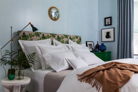 Interior design, Room, Textile, Flowerpot, Wall, Linens, Bedding, Bed sheet, Bed, Bedroom,
