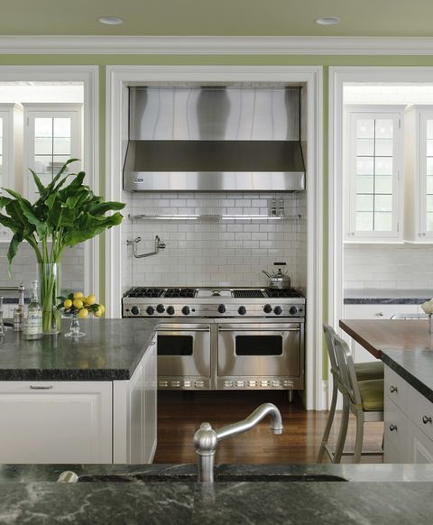 Room, Green, Interior design, Kitchen, White, Plumbing fixture, Glass, Countertop, House, Home,
