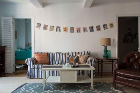 Room, Wood, Interior design, Floor, Flooring, Living room, Furniture, Table, Home, Wall,