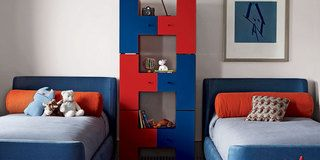 Blue, Room, Product, Interior design, Wood, Property, Wall, Textile, Red, Orange,