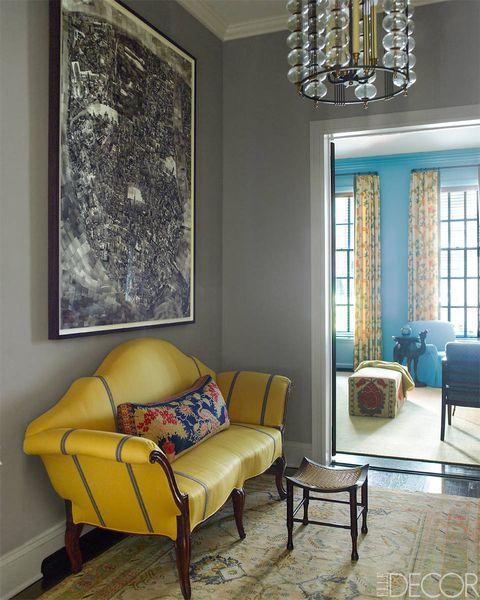 Blue, Interior design, Room, Floor, Yellow, Wood, Flooring, Wall, Furniture, Living room,