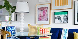 Blue, Room, Yellow, Interior design, Textile, Furniture, Wall, Pillow, Interior design, Throw pillow,