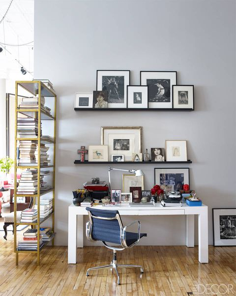 Room, Interior design, Furniture, Office chair, Shelving, Wall, Picture frame, Hardwood, Chair, Grey,