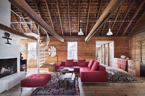 Wood, Brown, Room, Floor, Interior design, Hardwood, Ceiling, Couch, Beam, Living room,