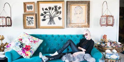 Textile, Room, Stuffed toy, Sitting, Living room, Carnivore, Interior design, Teal, Grey, Art,