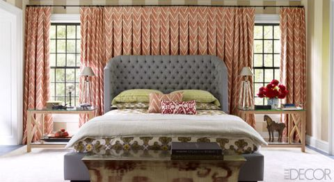 Interior design, Room, Brown, Green, Bed, Window, Textile, Wall, Bedding, Linens,