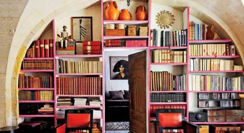 Shelf, Room, Interior design, Shelving, Furniture, Bookcase, Wall, Publication, Orange, Interior design,