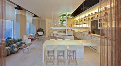 Lighting, Interior design, Floor, Room, Flooring, Table, Furniture, Ceiling, Real estate, Wall,