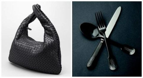 Cutlery, Kitchen utensil, Black, Guitar accessory, Shoulder bag, Household silver, Natural material, Fork, Still life photography, Silver,