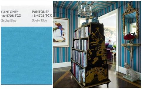 Room, Interior design, Shelf, Teal, Bookcase, Ceiling, Shelving, Light fixture, Turquoise, Aqua,