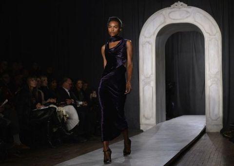 Human body, Shoulder, Fashion show, Dress, Runway, Style, Door, Fashion model, Fashion, Waist,