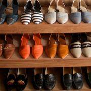 Shoe store, Brown, Shelving, Shelf, Collection, Retail, Tan, Shoe organizer, Carmine, Fashion,