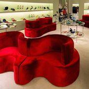 Room, Interior design, Red, Floor, Furniture, Living room, Interior design, Home, Decoration, Couch,